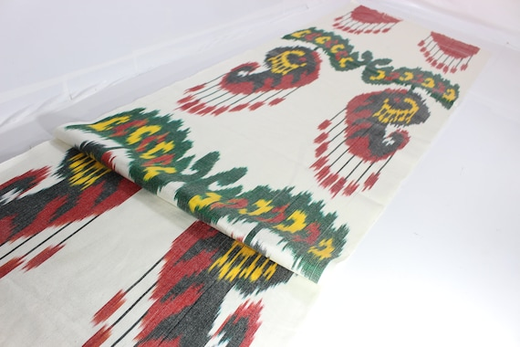 Ikat Fabric Hand Woven Fabric Silk Ikat Ikat Fabric by the yard Uzbek Fabric