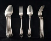 Antique Henri Soufflot Set of 12 Sterling Silver Dinner Forks Soup Spoons (6 6) Rococo Pattern, France, late 19th century