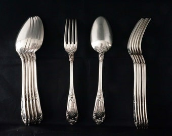 Antique Henri Soufflot Set of 12 Sterling Silver Dinner Forks & Soup Spoons (6 + 6) Rococo Pattern, France, late 19th century