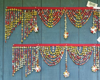 """Double Fancy Royale - set 45""""  and 50"""" :  This origami  valence is whimsical and festive, Colorful up-cycled materials. Fairly traded."""