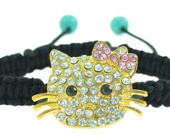 149a968c4 Fashion Shiny Crystal Hello Kitty Charm macrame bracelet- Gold and silver