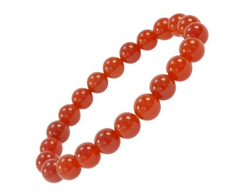 Round Red Agate Gemstone Bracelet - Good for Healing and energy - 91295
