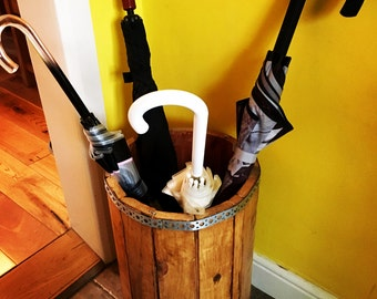 Rustic industrial Umbrella Stand Rubbish Waste Bin Cable Drum Bespoke Shabby Chic