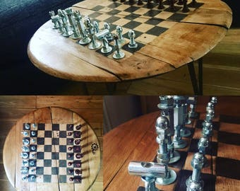 Industrial Chess Board Table Set
