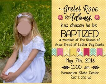 Girl LDS Baptism Invitation- digital yellow