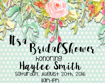 Bridal Shower Invite, light blue polka dot