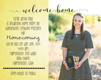 LDS Missionary, Missionary Homecoming Invitation, LDS, Elder, Sister, Printable