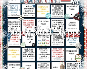 Winter Olympic Personal Progress Bingo