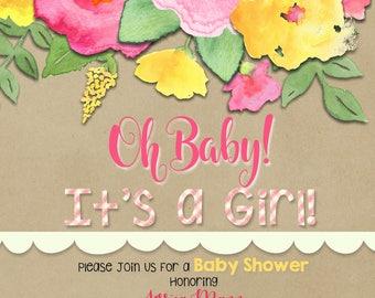 Baby Girl Shower Invite, Pink Flowers