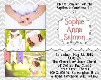 Girl Baptism Custom Invitation- digital file