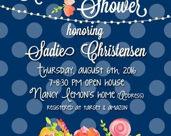 Bridal Shower Navy Dot