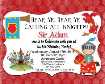 Birthday Party Invite, Knight, Castle, Dragon, Hear Ye Hear Ye