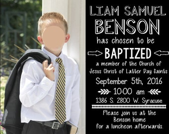 LDS Baptism Invitation, LDS, digital