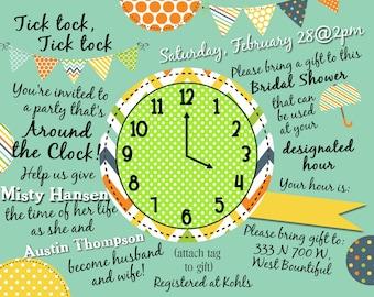 Bridal Shower Invite, Around the Clock Theme