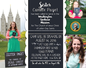 Missionary Farewell Invite, Sister Missionary, Homecoming, LDS, LDS Missionary