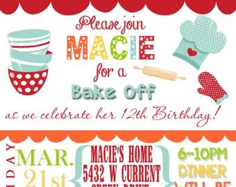 Birthday Party Invitation digital file, Bake Off!