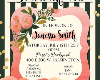 Bridal Shower Invite, Black and White, floral, pink roses, gold