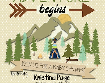 Adventure Awaits Baby Shower, Camping, Mountains