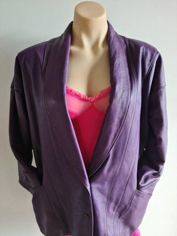 80s Purple Leather Jacket, Vintage Jacket, Retro J