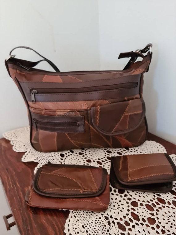 Vintage Patchwork Bag Set, 80s Bag, 80s Purse, 80s