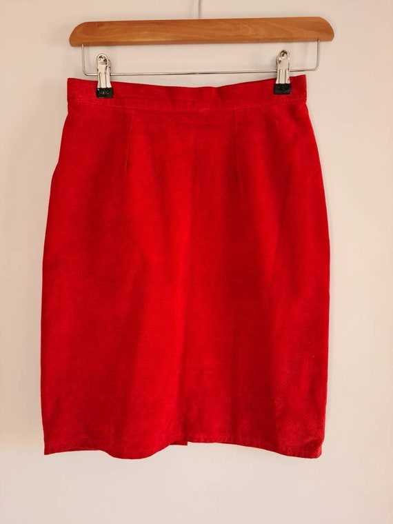 Vintage Red Suede Leather Skirt, 1980s Skirt, Penc