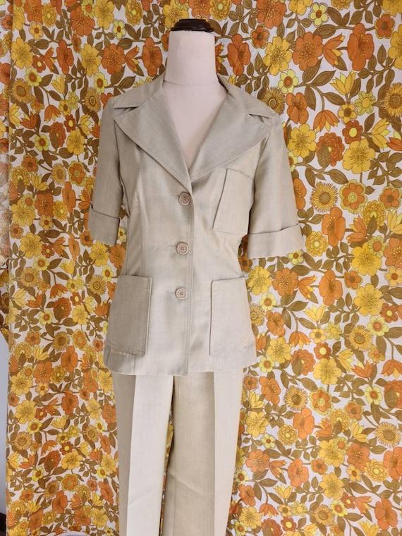 70s Ladies Safari Suit, Vintage Safari, Beige, SSW