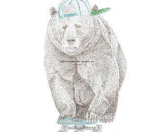 Pointillism drawing of Baby Black Bear named Prescott
