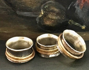 Spinner Ring, Hammered Sterling Silver, Oxidized with Brushed Bronze and Brass Spinning Bands