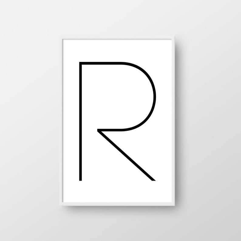 graphic about Letter R Printable called Letter R Printable Poster, Letter R Print, Printable Letter, Nordic Print, Scandinavian Poster, Minimalist Poster, Letter R Poster