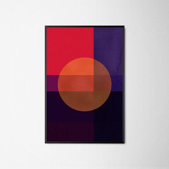 Love Abstract Art Prints Low Poly Geometric Red Contemporary Wall Art Prints Design Orange Tango \u2014 Modern Poster Polygram Heart