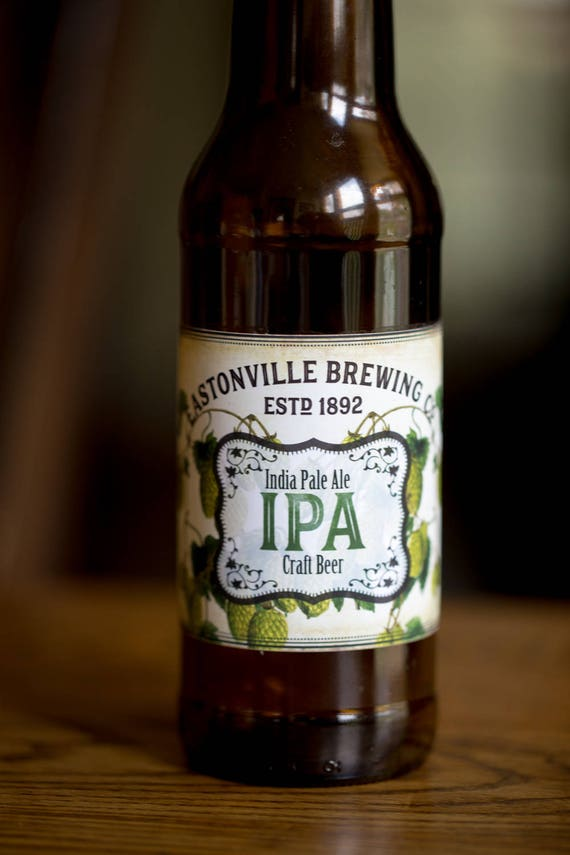 Customized Beer Label Ipa Vintage Design With Hops Etsy