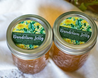 Customized Label - Dandelion Jelly, Dandelion Oil, Watercolor Style Canning Jar Label - Wide Mouth & Regular Mouth - Watercolor Dandelions