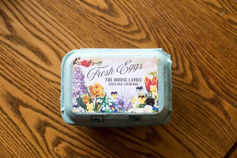 Spring Flowers Fresh Eggs Half Dozen Cartons Customizable for your Flock Custom Egg Carton Labels