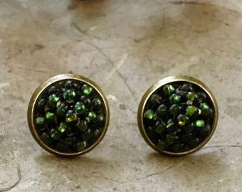 Christmas gift earrings Dark green stud earrings Green stud earrings Marsala stud earrings Beaded stud earrings Every day earrings
