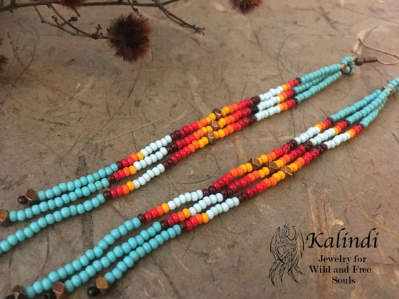 """5""""Extra Long turquoise Beaded Earrings Ombre Shoulder Dusters~Long Seed Bead Earring~Long Bohemian Dusters~Native American Style Southwest"""