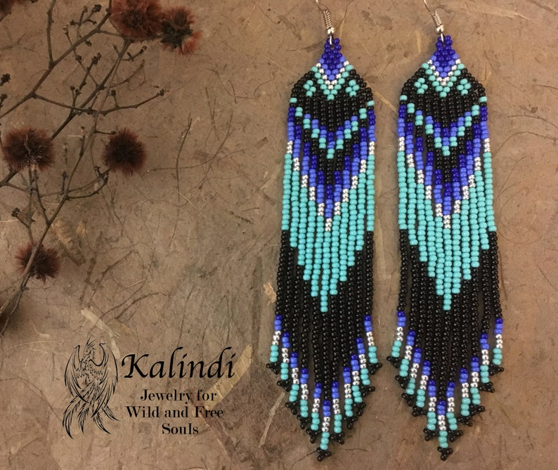 ec6993677249a Native american style Beadwork, native style earrings, beaded earrings,  seed bead earrings, modern earring, boho earrings, fringe earrings