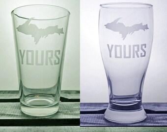 Upper Peninsula - Up Yours Glass - Yooper Glassware - Pure Michigan - UP - Humor - Wine Glass - Pint - Pilsner - Gift ideas