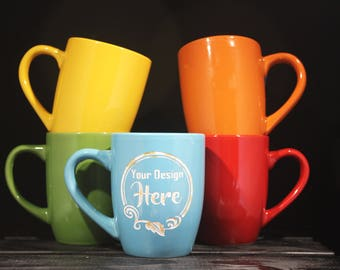 Custom Mug - Ceramic Cup - Coffee and Tea - Custom - Corporate Gifts - Customized - 12oz - Etched - Your Design - Engraved