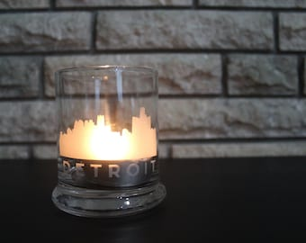 Detroit Candle Holder - DET - Detroit Skyline - Motor City - Pure Michigan - Gift Ideas - Gifts for Her - Home Decor - City scape