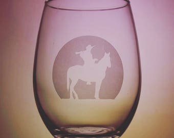 Cowboy Glass - Western - Equestrian - Wine Glass - Horse Cup - Etched Glassware - Custom Gift - Gift Ideas - Gifts For Her - Gifts for Him
