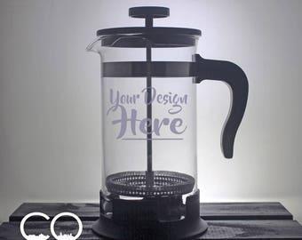 French Press - Personalized - Coffee Maker - Etched - Your Design - Corporate - Company Gift - Gift Ideas - Gifts for Him - Gifts for Her