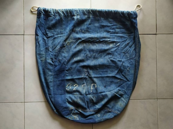 Vintage 40's 50's USN navy army barrack bag denim