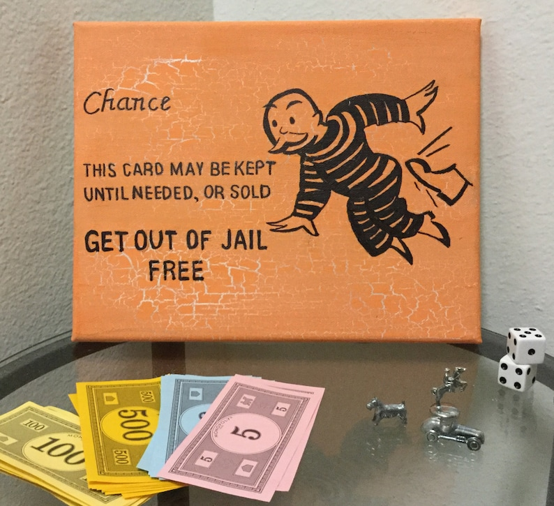 Monopoly Art Chance Card Get out of Jail Free Board Game   Etsy