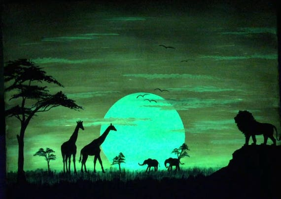 Glow in the Dark African art Sunset Africa giraffe lion silhouette orange sun Safari silhouette of trees black shadows yellow clouds