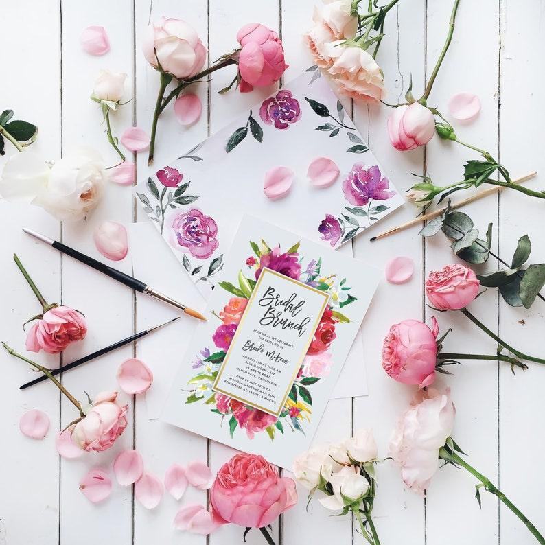 Digital Invite Printable Watercolor Bridal Shower Invitation Floral Shower Spring Wedding Customizable