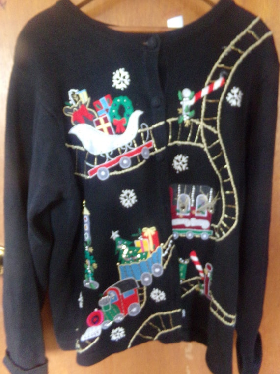 Victoria Jones Button Up Christmas Sweatermed Etsy