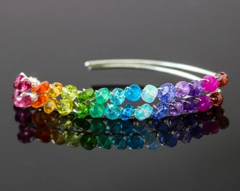 Rainbow Gemstone Earrings, Rainbow Threader Open Hoops Silver Earrings, Multi Gemstone Hoop Earrings Colorful Gemstone Earrings Rainbow Hoop