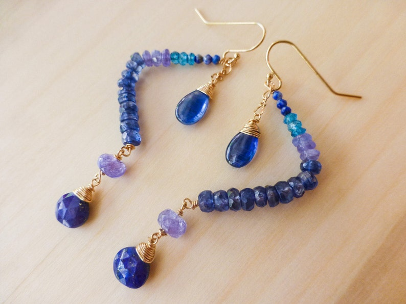 Lapis Earrings Kyanite Long Dangle Gemstone Cobalt Blue Earrings Kyanite Earrings Kyanite Dangle Earrings Blue Gemstone Dangle Earrings