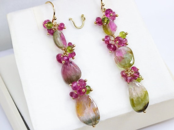 Natural Tourmaline earrings Pink and Green earrings Heart Stone Watermelon Tourmaline slice with 24kt vermeil drop earrings