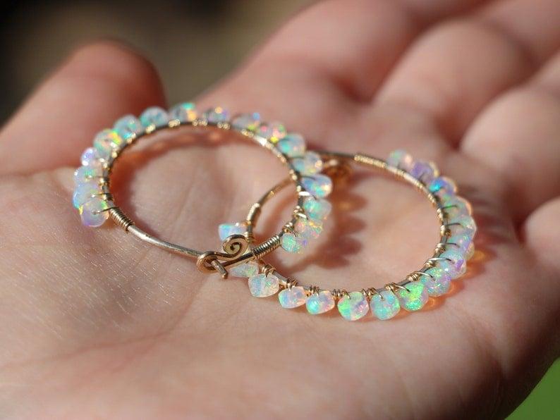 Ethiopian Opal Hoop Earrings Welo Opal Earrings Fire Opal Earrings Opal Small Hoop Earrings Gold Wire Wrapped Opal Hoops Hammered Hoops 14K